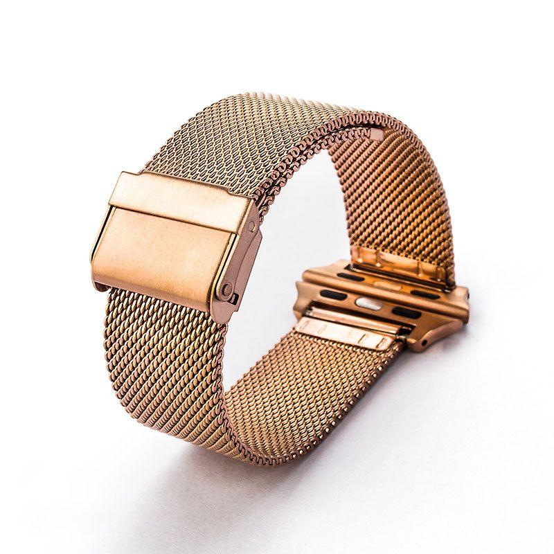 Relógio inteligente Bandas de malha de Milão cinto de aço inoxidável 316 pulseira de pulso esporte banda strap para apple watch series 38/42 mm modelo universal de ouro