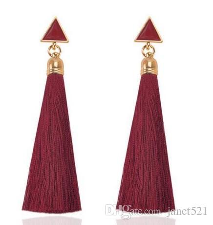 Dreieck Fransen Quaste Ohrringe Tropfen Quaste Baumeln Ohrringe Fischhaken Baumwollgewinde Multi Farbe Fransenfaden Baumeln Ohrringe