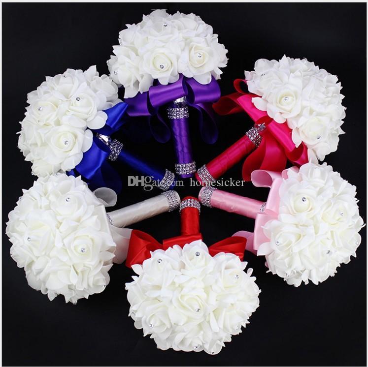 2016 Elegant Rose Artificial Bridal Flowers Bride Bouquet Wedding Bouquet Crystal Royal Blue Silk Ribbon New Buque De Noiva 6 Colors