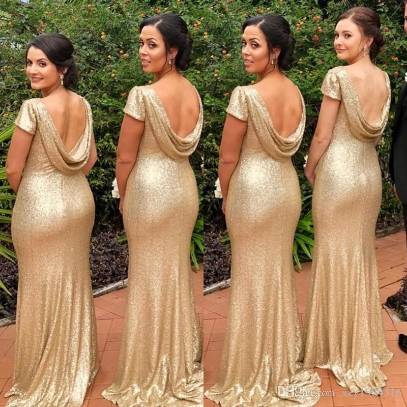 Golden Short Sleeve Bridesmaids Dresses Plus Size Memaid Backless Floor Length Wedding Guest Dress Sexy Sparkly 2018 Prom Dress Party Gowns