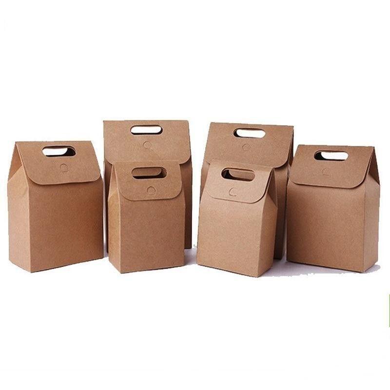 Portable Kraft Paper Bag con manico pieghevole Candy Gift Box grani Alimentazione imballaggio marrone Borse per il partito favore di cerimonia nuziale 1 2HQ BB
