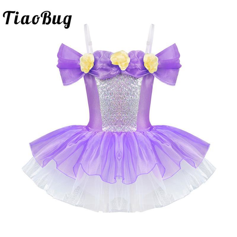 TiaoBug Girls Shiny Adjustable Straps Off Shoulder 3D Flowers Ballet Dress Kids Gymnastics Leotard Ballerina Dance Tutu Dress