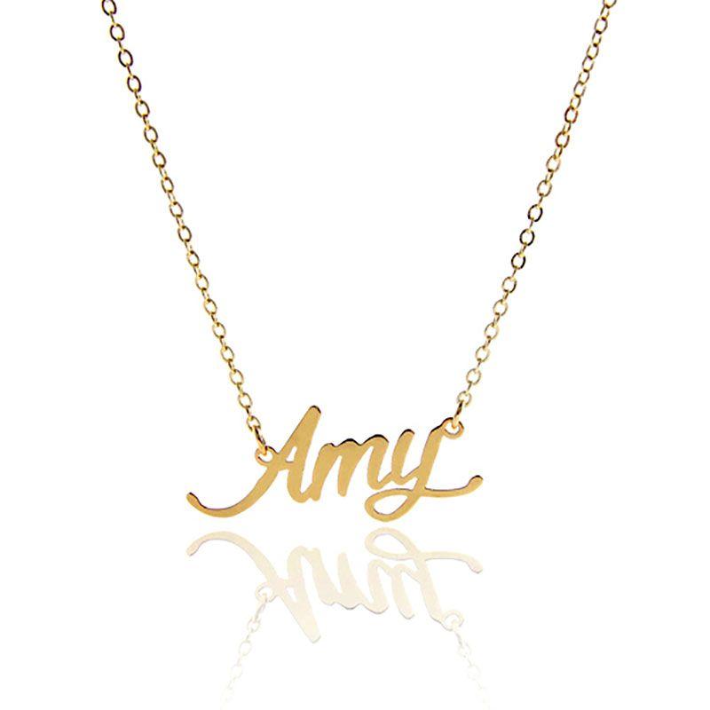 """Namensschild Halskette für Frauen Personalisierte Namenskette Namensschild """"Amy"""" Edelstahl 2015 Frauen Customized Namensschild Halskette, NL-2391"""