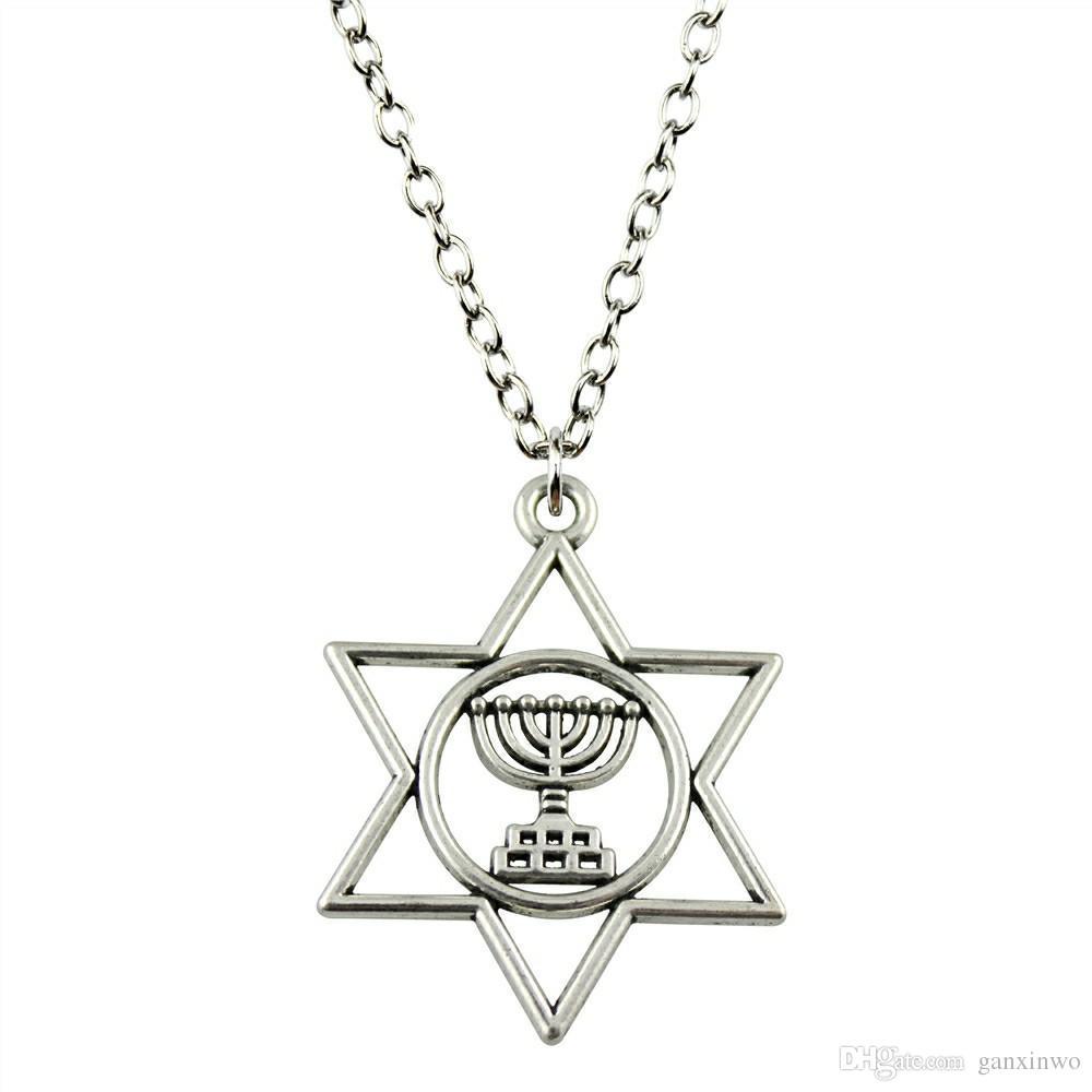 WYSIWYG 5 шт. металлические цепи ожерелья подвески мужской ожерелье мода иудаизм Менора Звезда Давида 39x32mm N2-B10527