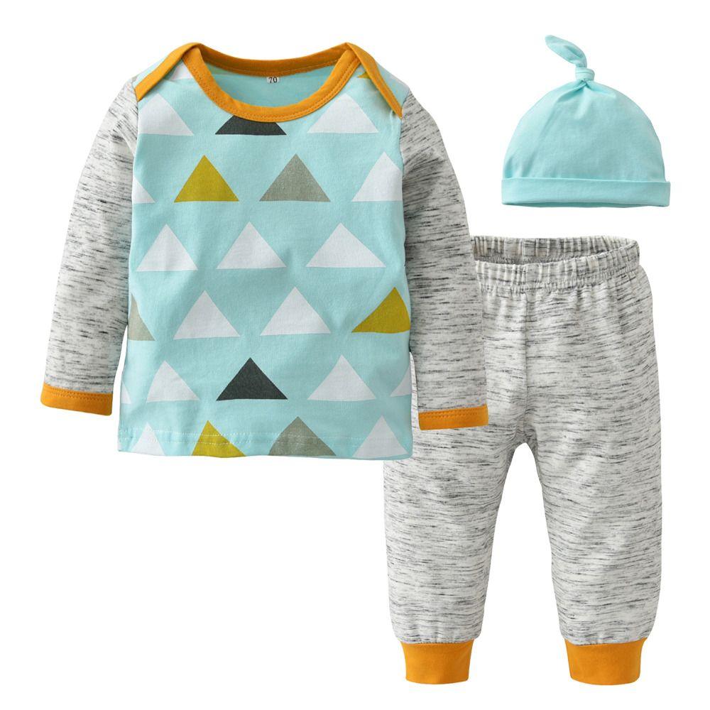 Мальчик одежда набор осень стиль хлопок с длинным рукавом повседневная мода лоскутное 3 шт. малыш костюм новорожденных девочек одежда