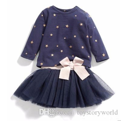 Children girls clothing set five-pointed star print long sleeve top bow tie back top+tulle mesh skirts with bow tie for girls