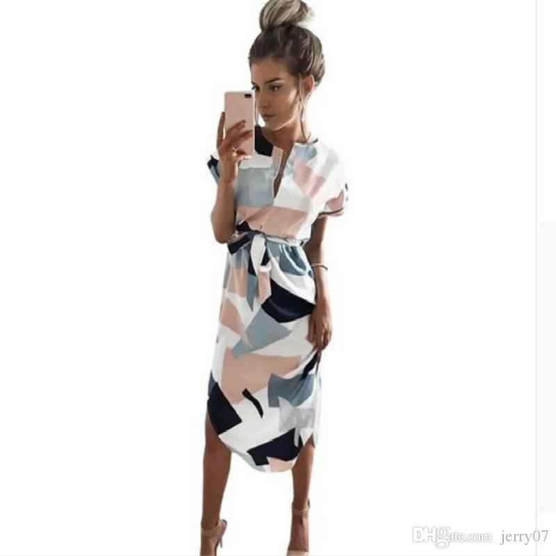 Women Midi Pencil Dress Summer Geometric Multi-color Mid-Calf Length Stand Collar Novelty 2018 Dresses S 2XL