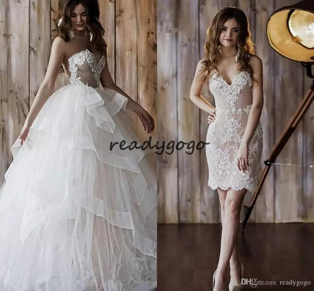 Short Lace Wedding Dresses with Tiered Detachable Skirt 2019 Modest Strapless Lace Applique Ruffles Organza Princess Holiday Wedding Gown