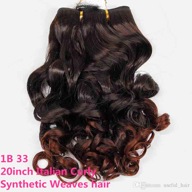 Brazilian hair bundles Italian curly synthetic hair weaves 20inch ombre color ombre brown synthetic braiding hair for black women all