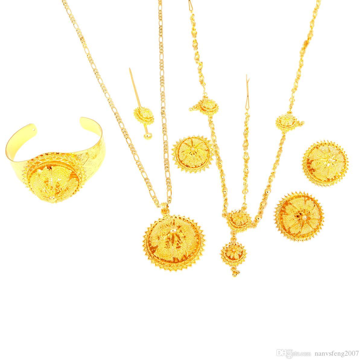 Ethiopian Gold Jewelry Set Hair Chain Forehead Chain 6pcs Accessory Bridal Wedding Jewelry