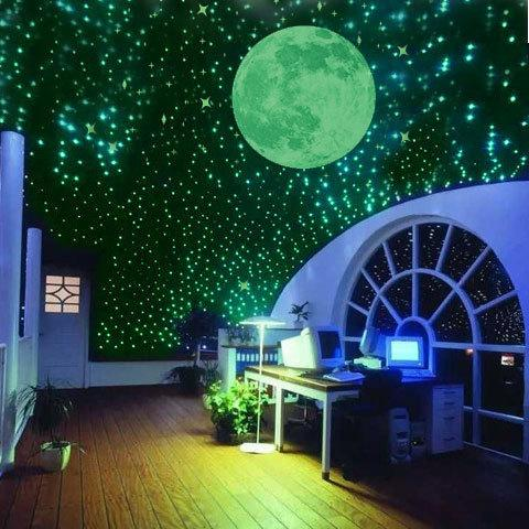 /Pack Night Luminous Stars Fluorescent 3D Wall Stickers Children\'S Bedroom  Stickers Glow In The Dark Stars Wall Sticker Decorations Wall Sticker ...