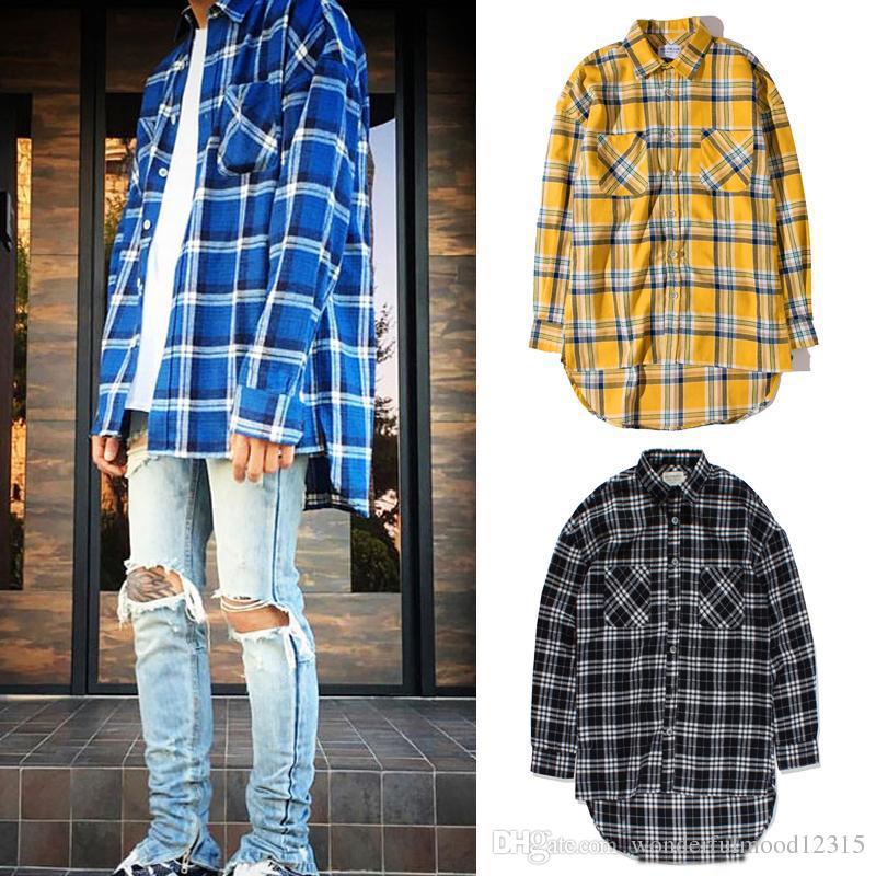 Top Mode Plaid Hi-Low Casual Long Spring Spring Flanelle Enfree Chemise chemise Chemise Cardigan Automne Hip Hop Hem Hem Homme HMHBG