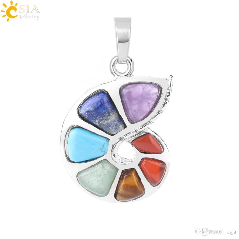 CSJA Spiral 7 Chakras Necklace Pendant for Women Chakra Reiki Natural Gemstone Beads Jewelry Drop Pendants Girls Fashion Yoga Jewellery F737