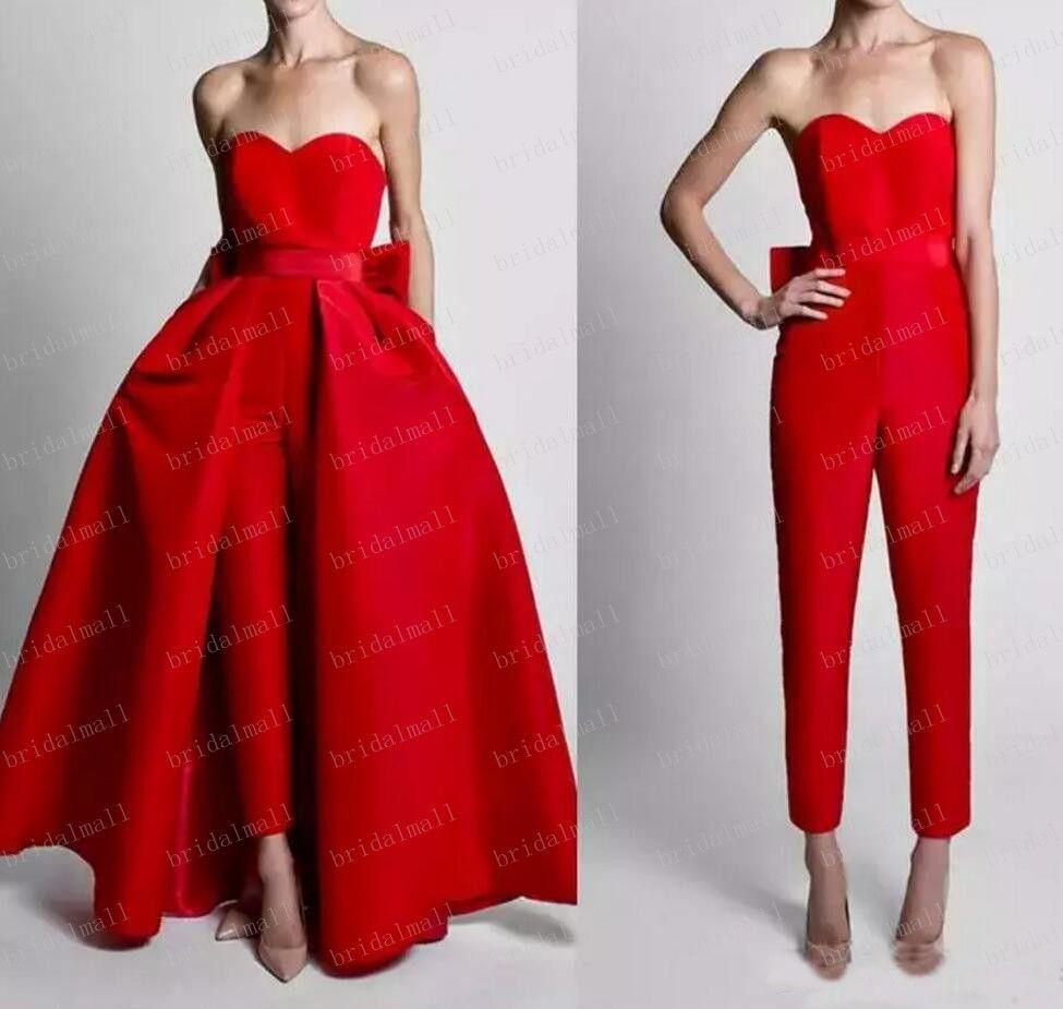 Plus Size 2019 Red Satin Overskirt Avondjurken met afneembare rokken Jumpsuits voor vrouwen Formele feestjurken met grote Bowk Prom Dress