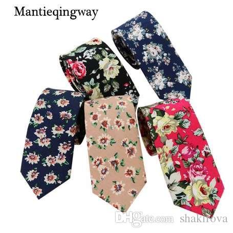 Mantieqingway Ouro Azul Marinho Homens Gravatas Para Adultos Senhores Flor Pontos Gravata para o Casamento Terno Floral Skinny Laços para Homens