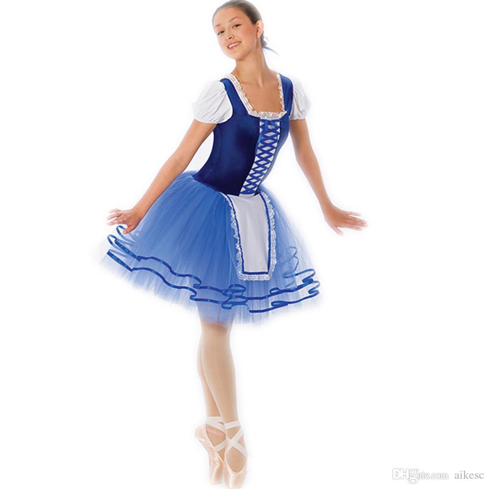 Lacet Bleu côté enfants Ballet Robe printemps Nouveau professionnel de danse Robe pratique Robe Stade Vêtements Performance L66