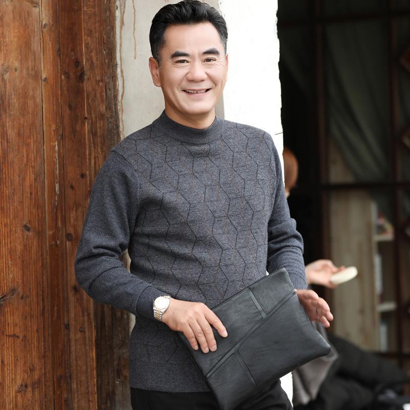 100% шерсть Осень Зима новый свитер мужчин повседневная O-образным вырезом пуловеры толстые мода высокое качество удобные теплые размер MLXL2XL3XL4XL