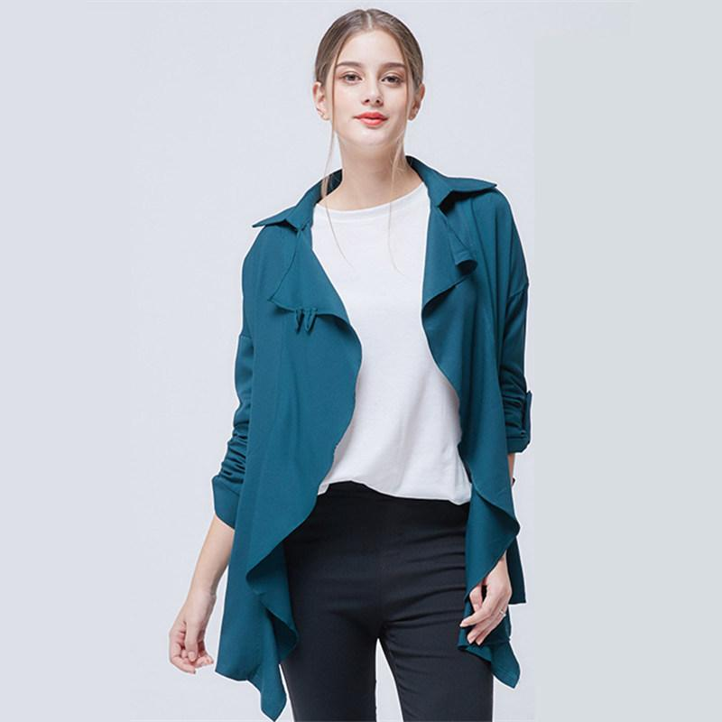Trench Thin Women 2018 Autumn Fashion Solid Color Irregular Loose Wild Plus Size Portable Windproof Windbreaker Top Coat