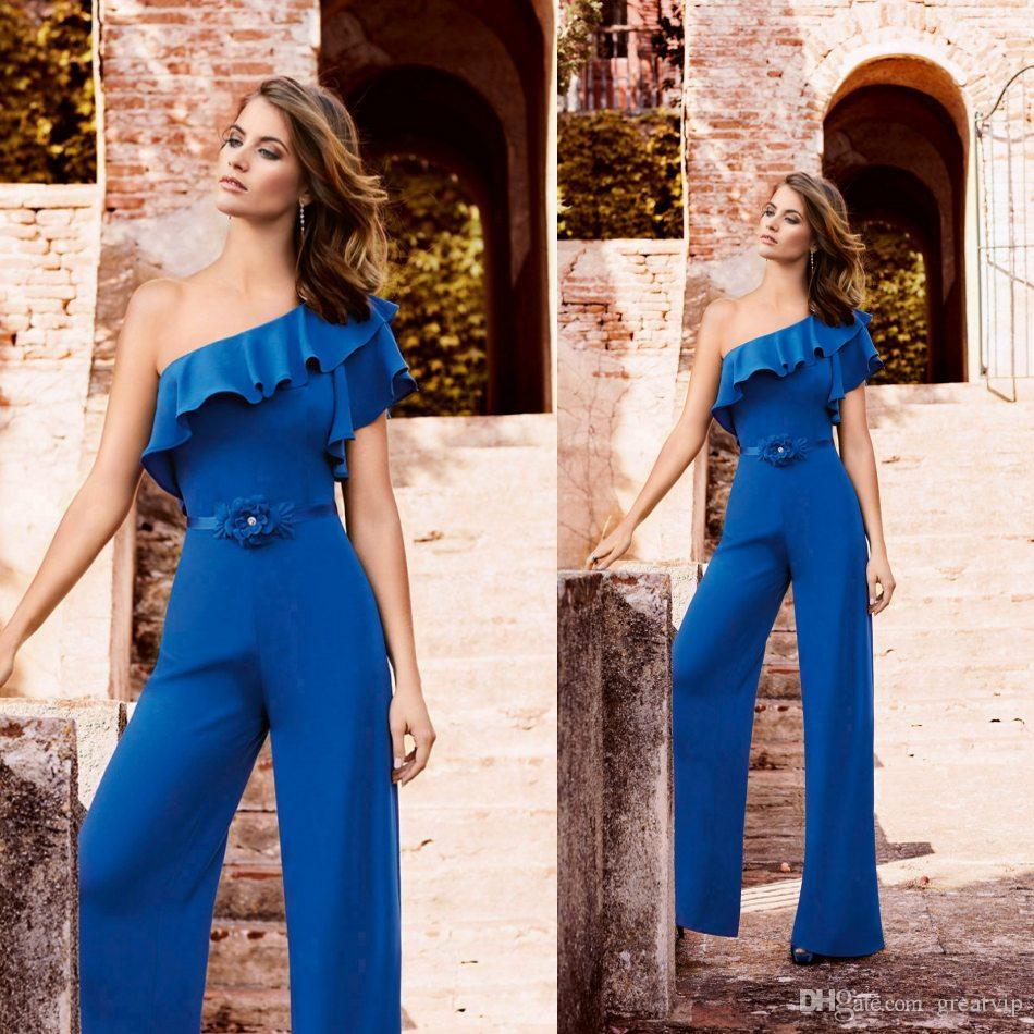 Combinaisons bleu marine une épaule mère de la mariée Robes Slim Fit costumes de demoiselle d'honneur, plus la taille des mères robe