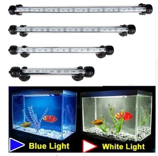 수족관 물고기 탱크 9/12/15/21 LED 라이트 블루 / 화이트 18 / 28 / 38 / 48CM 바 잠수 방수 클립 램프 장식 EU 플러그