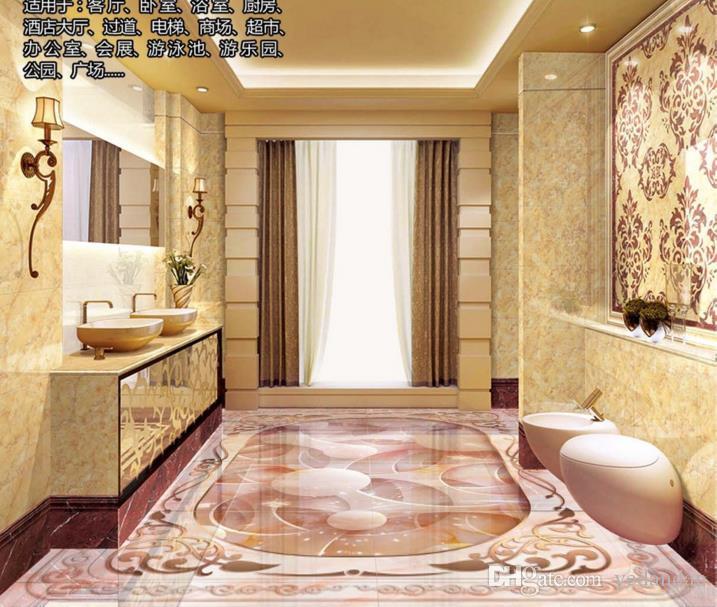 пользовательские 3d фото обои 3D пол камень нефрит резьба настил фрески для спальни ПВХ самоклеющиеся обои 3D пол