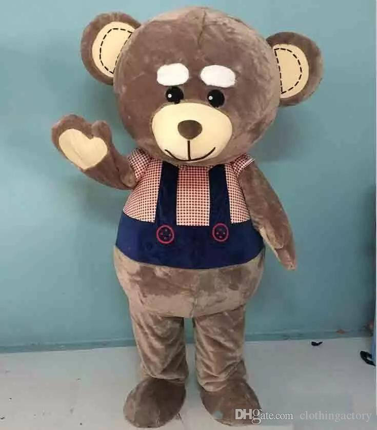 2018 High quality hot big head big belly brown teddy bear mascot costume for adult to wear