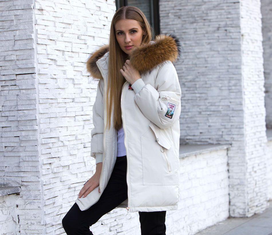 dbd03985d3c Female Jacket Large Real Raccoon Fur Winter Jacket Women 2018 Warm Thicken  Hood Winter Coat Women s Cotton Down Parka Plus Size