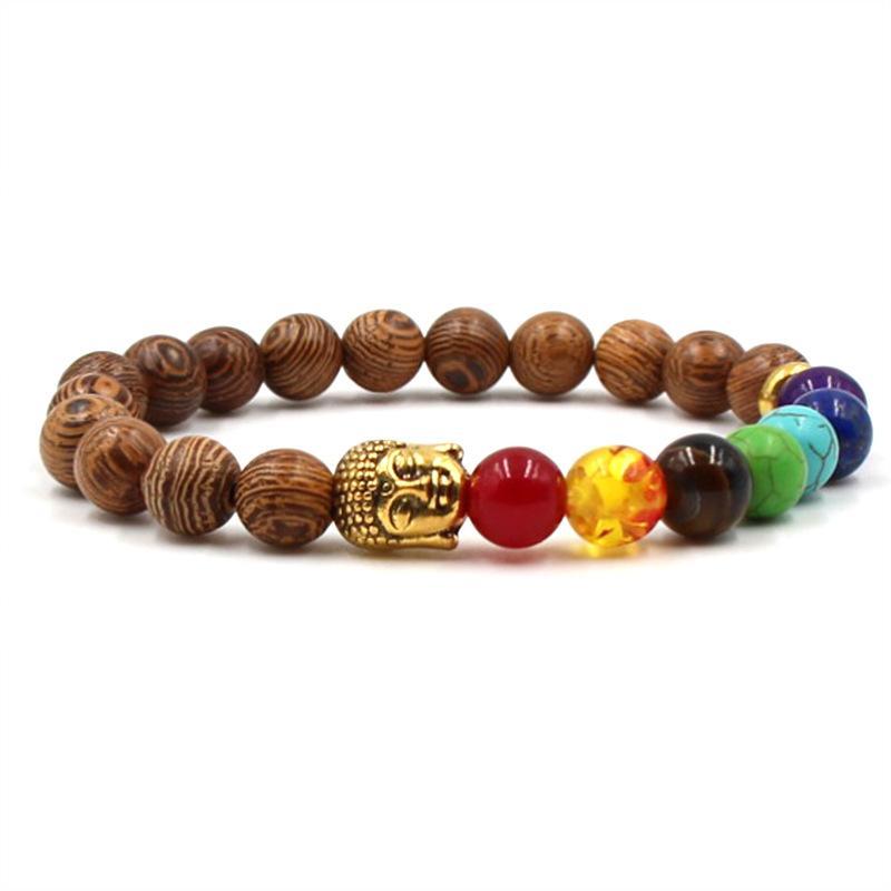 Bonita pulsera Chakra Hombres Black Lava Healing Balance Beads Reiki Buda Oración Pulsera de yoga de piedra natural para mujer Pulsera de lava