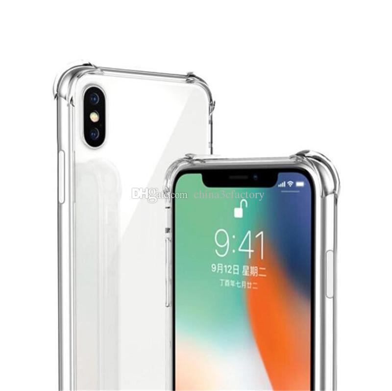 Противоударный чехол для iPhone XS XR XSmax iPhone X 8 7 Plus Мягкий чехол ТПУ Прозрачная крышка для Samsung Galaxy Note 8 9