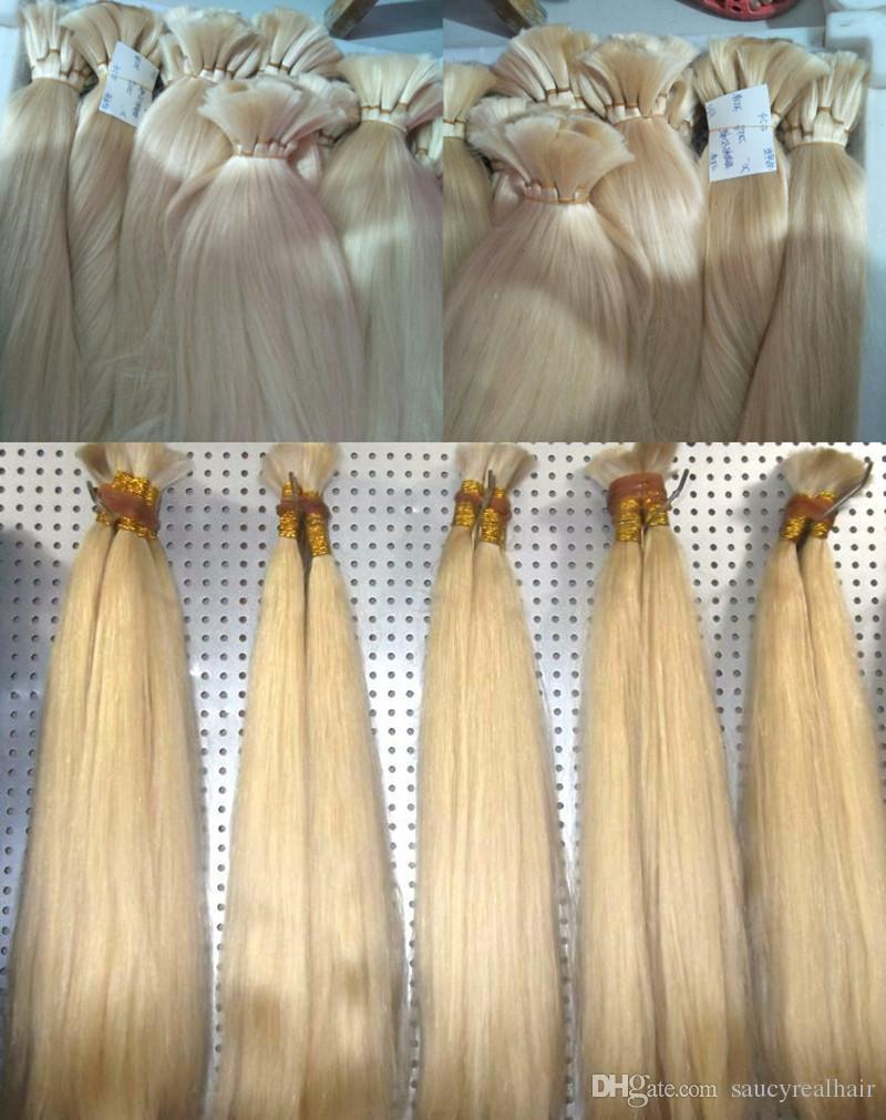 Saç Uzantıları için toplu 300 gram Gerçek İnsan Saç Saf Sarışın 613 # Renk Atkı olmadan Renk Saç Toplu