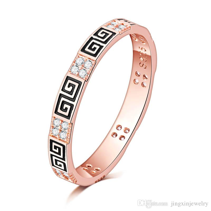 Extra thin 2.5mm Light Pink 18K gold filled greek key Clear CZ tail Ring Women Wedding Jewelry Women Retail & Wholesale for 011732