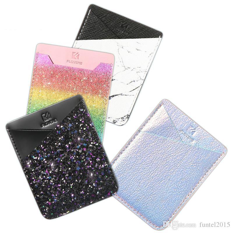 الأزياء الملونة لاصق ملصق حامل البطاقة الغطاء الخلفي حالة الحقيبة الهاتف لسامسونج S9 S8 S9 زائد فون X 8 7 زائد