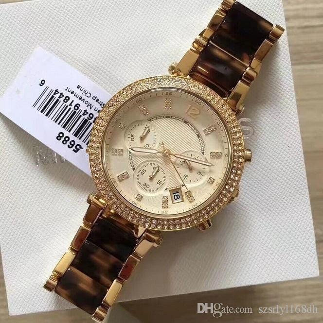 Favorito da moda senhora! 5688 Rose Gold Amber Quartz Assista, Aço Inoxidável de Diamante À Prova D 'Água Relógio, Varejo e Atacado + Frete Grátis