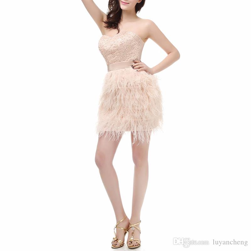 Sexy Sweetheart Sheath Short Prom Dresses 2018 Glamorous Champagne Feather Beads Mini Evening Party Dress Prom Gowns vestido de festa
