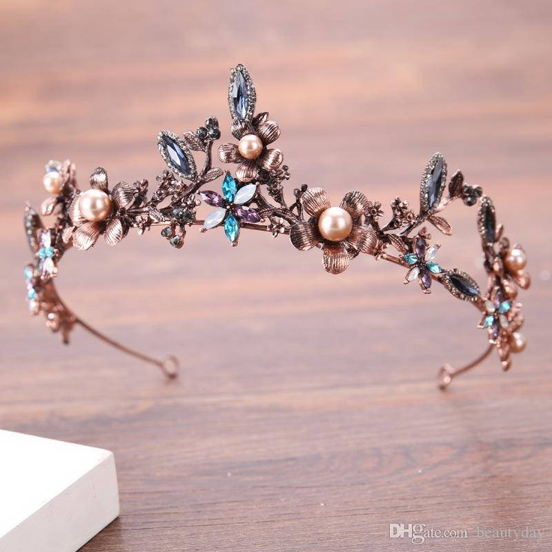 Vintage Rose Gold Bridal Crowns Strass Crystal Masquerade Wedding Crowns Fascia per capelli Accessori per feste Tiara Barocco Handmade chic