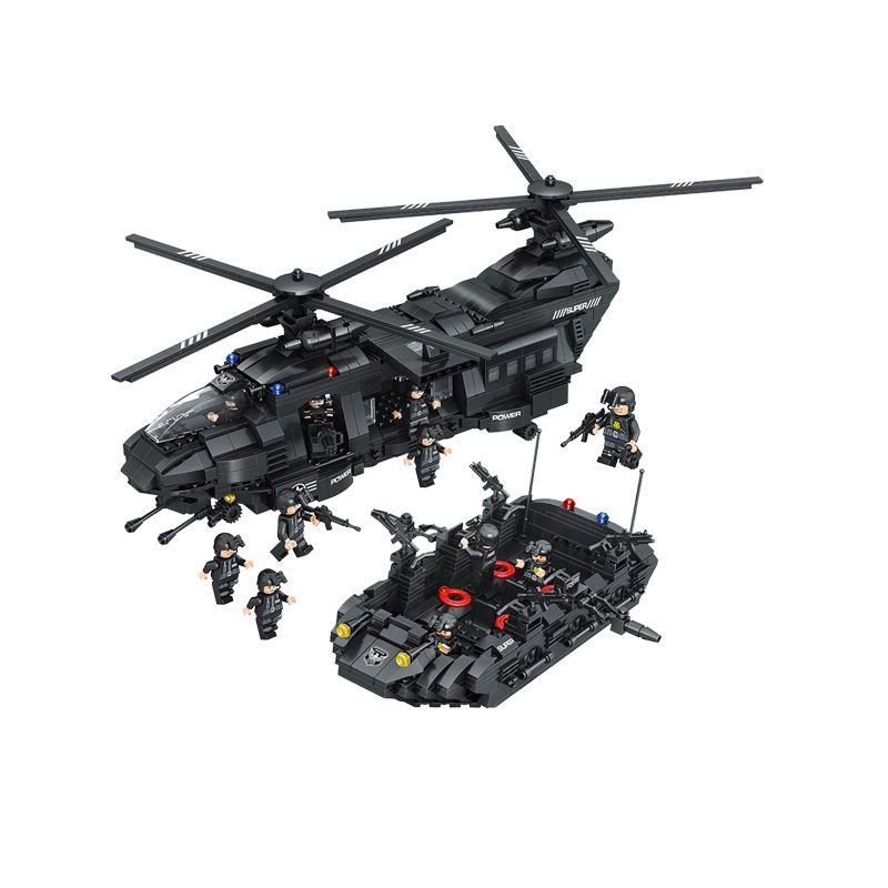 اللبنات 1351pcs Swat team اللبنات Chinook النقل مقارنة مع ارتفاع طوب هليكوبتر الأولاد اللعب