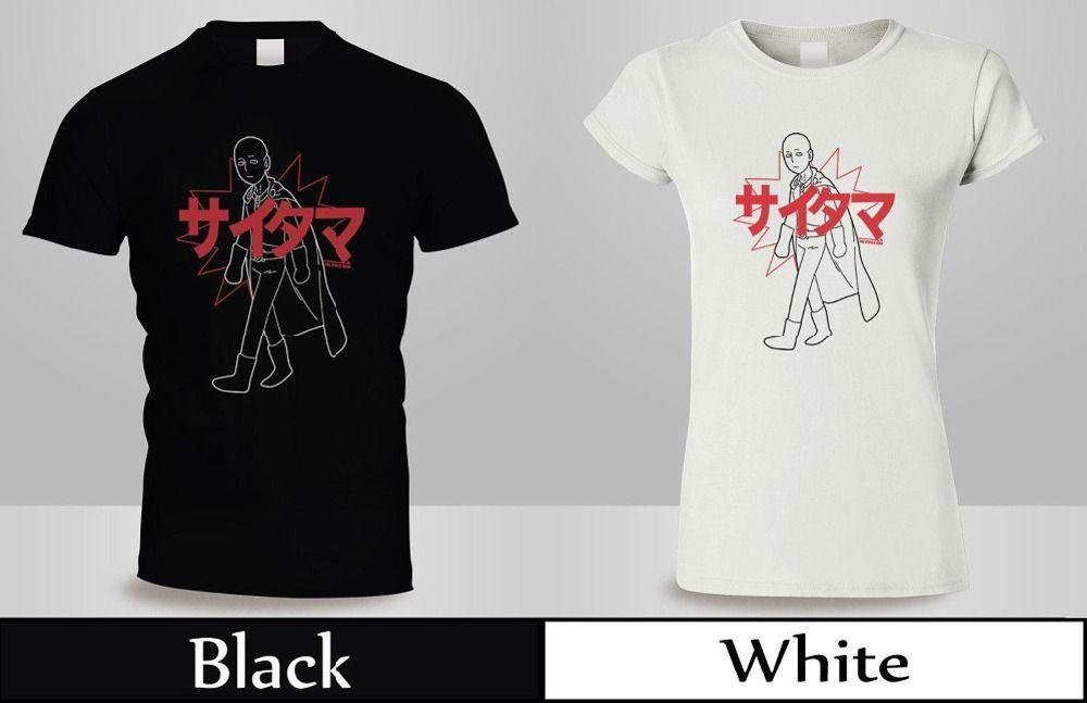Yüksek Kaliteli Rahat Baskı Tee Anime Tek Yumruk Adam Saitama Kanji T Gömlek erkek / kadın Siyahbeyaz Gömlek Yaz T Gömlek