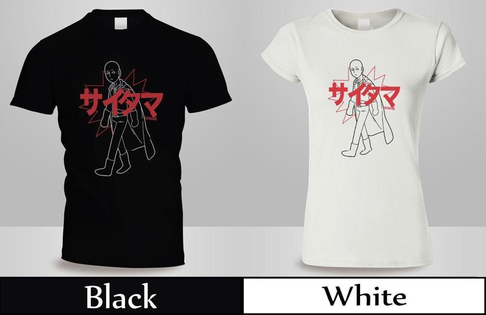Alta calidad camiseta de impresión casual Anime One Punch Man Saitama Kanji camiseta hombre / mujer Blackwhite camisa verano camiseta