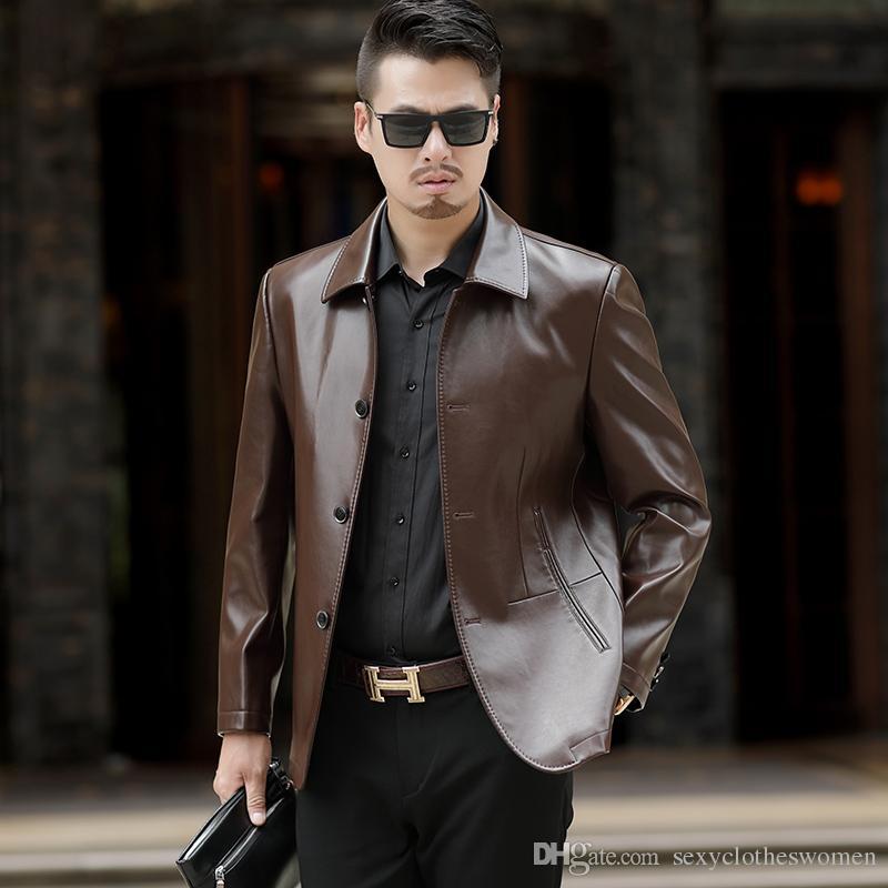 20bda5c63ae8 2019 Black Fashion Men PU Leather Jacket Riding Clothes Man Jacket Male  Coat Men's Jackets Veste Homme Manteau Hiver Homme DHL