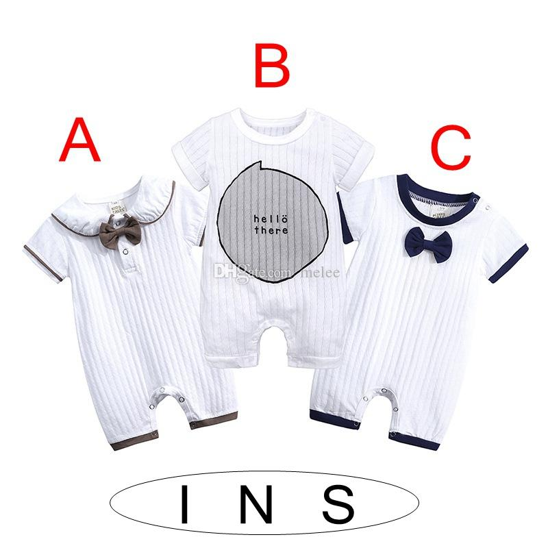 ins summer infant baby toddler COTTON bow romper jumpsuit sunsuit bodysuit ruffle letter print kids clothing cotton baby girl clothes