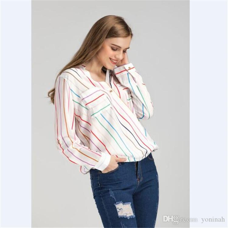 Großverkauf-freies Verschiffen-Frühlings-Frauen-Oberseiten-Hemd-Chiffon- bunte gestreifte V-Ausschnitt-lange Hülsen-Taschen-Bluse Büro-Damen-Oberteile Blusas S-XL
