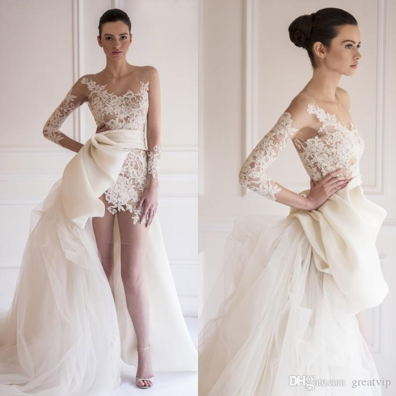 Elegante 2019 Elie Saab Brautkleider Sheer Bateau A-Linie Chiffon Lace Illusion Langarm Mini Short Beach Plus Size Kleid Brautkleider