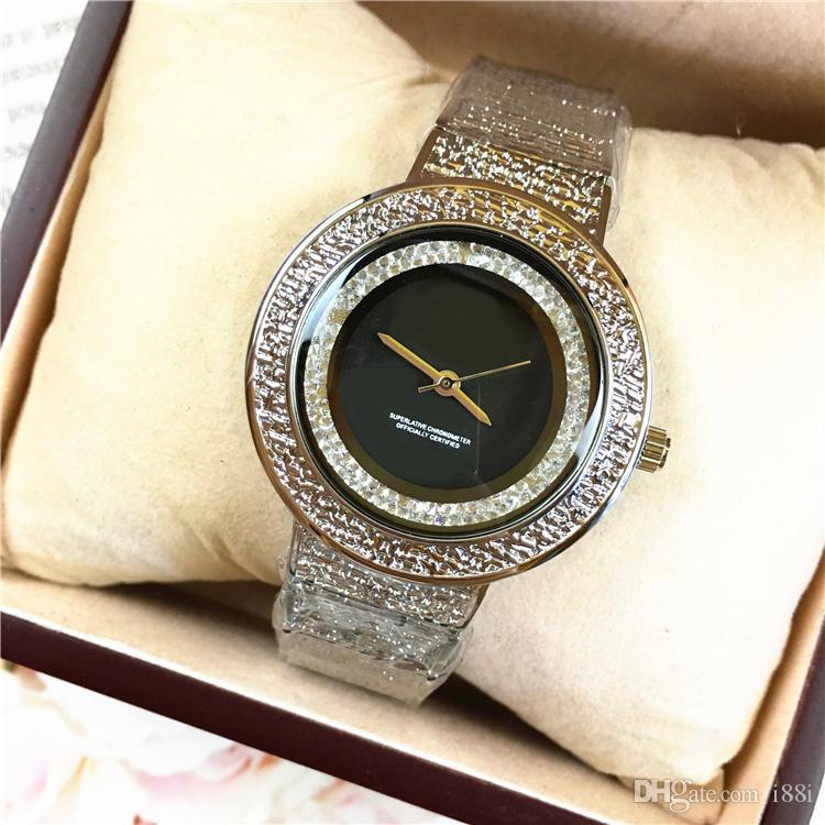 Luxe coloré de haute qualité Rinestones femmes Montre bracelet à quartz marque montre robe de mode de gros diamants cristal horloge femme occasionnels