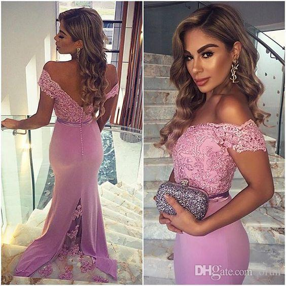 2018 Modest Off Shoulder Elastic Stain Lace Prom Party Dress Sleeveless Applique V Neck Floor Length Evening Dresses Mermaid Formal Gowns