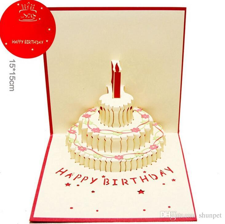 New 3D Pop Up Birthday Cake Greeting Cards With Envelope Laser Cut Post Card For Party Decoration Children