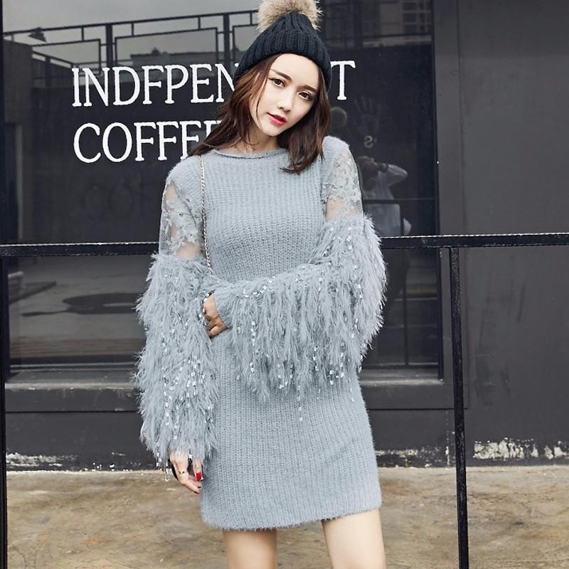 CHICEVER осень вязание женский свитер для женщин пуловеры фонарь рукав свободные o шеи свитера перемычка одежда мода новый S18100803