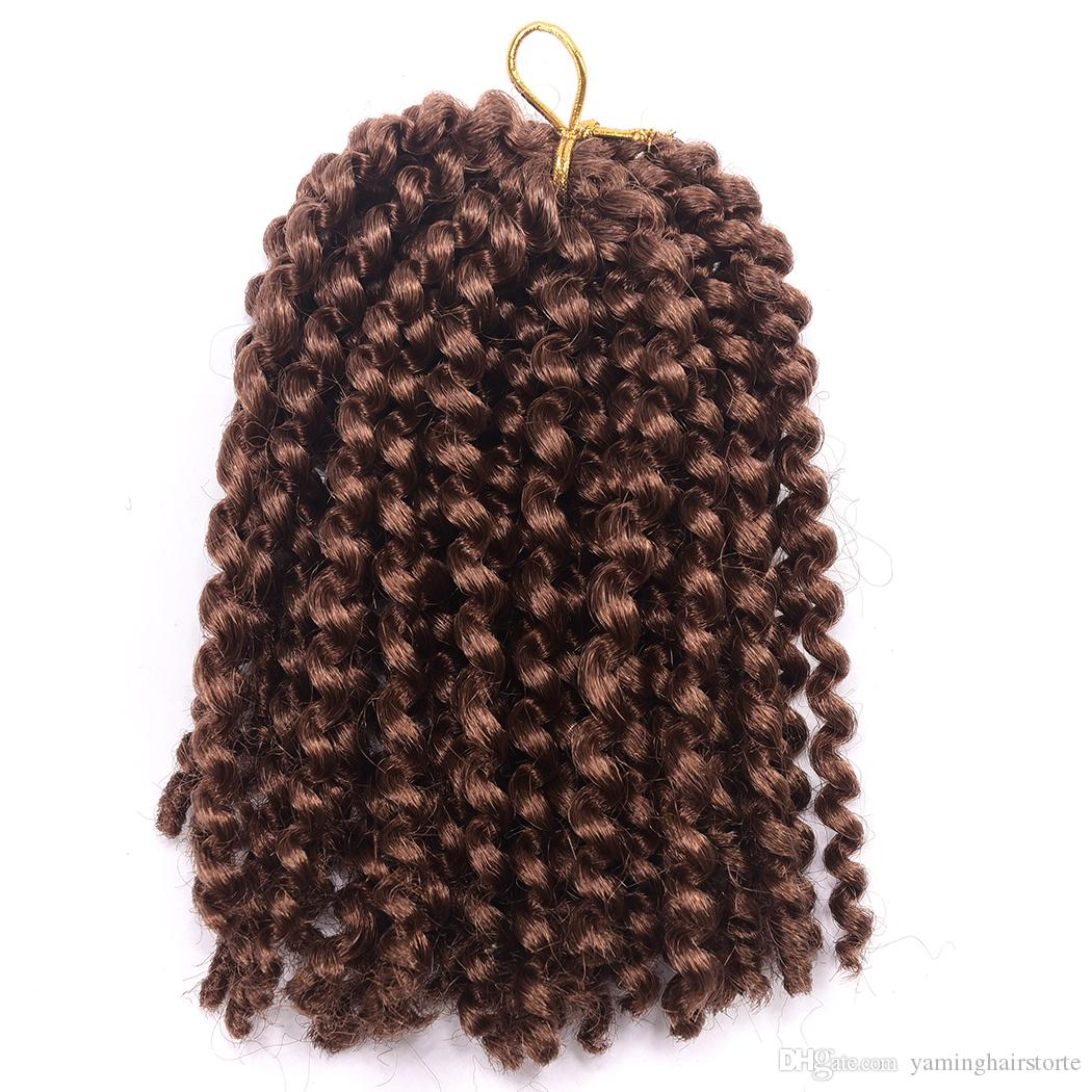 Beautful 옹 브르 8 'Marlybob 크로 셰 뜨개질 머리 끈 3pcs 곱슬 곱슬 트위스트 합성 머리 크로 셰 뜨개질 머리 확장