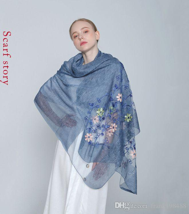 The United States Wind Scarf Genuine Silk Woolen Pashmina Women Elegant Scarves Embroider Easy Matching Pashmina Tours Available