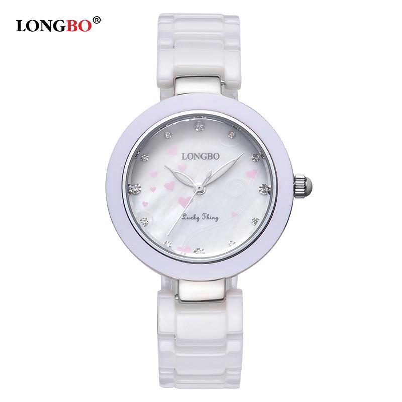 LONGBO Brand Women White Ceramic Watches New Fashion 2017 Ladies Quartz Watch Waterproof Luxury Girl Wristwatch Female 80107 S924