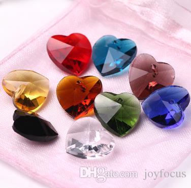 10mm Charms Cam Kristal Kalp Yönlü Boncuk kolye Takı Bulguları Gevşek Boncuk DIY Aksesuarları Kristal Boncuk